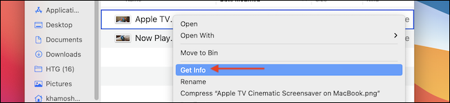 Click on Get Info in right-click menu