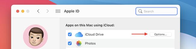Нажмите Параметры в iCloud Drive.