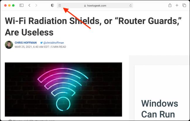 Clique no botão Reader View no Safari para Mac