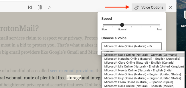 Click Voice Options in Immersive Reader in Edge