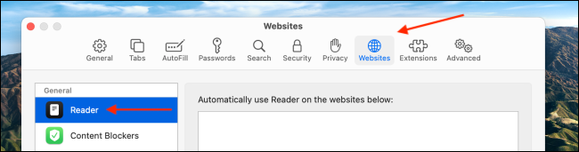 Clique em Sites e escolha a seção do leitor