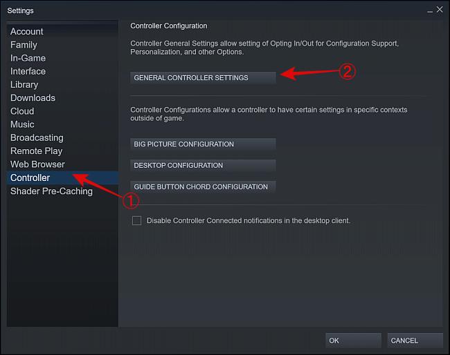 Select General Controller Settings