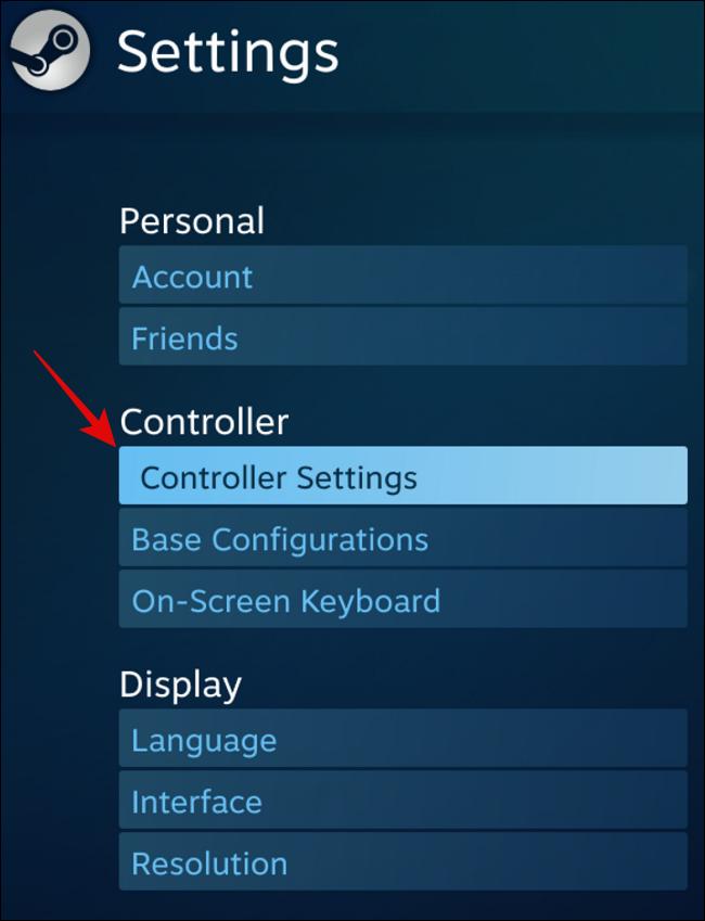 حدد إعدادات جهاز التحكم تحت جهاز التحكم