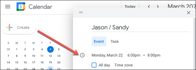 Create the event and add the date and time