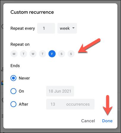 """в """"Настраиваемое повторение"""" меню, установите собственное расписание для вашего мероприятия, используя предоставленные параметры, затем нажмите """"Сделанный"""" сохранить."""