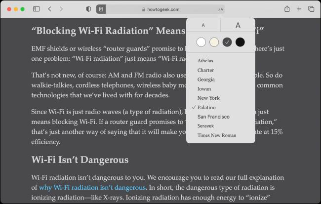 Personalização do Reader View no Safari para Mac