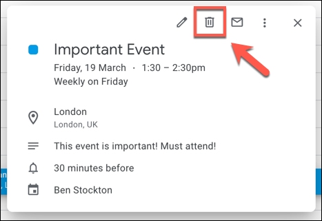"Select an event tile, then press the ""Delete"" button in the pop-up box."