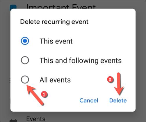 """Выберите, следует ли удалить отдельное событие, серию или повторяющиеся события из перечисленных параметров, затем коснитесь """"Удалить"""" чтобы подтвердить."""