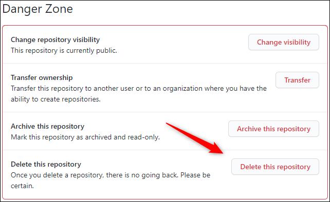 Delete this repository button