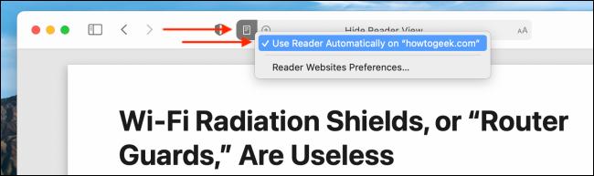 Desative o modo de leitor automático para sites no Safari para Mac