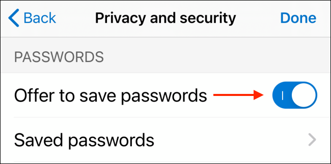 Disable Offer to Save Passwords Feature