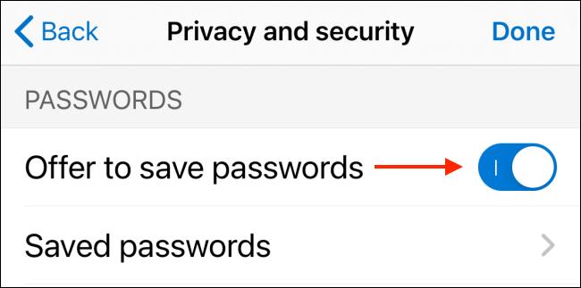 Disabilita l'offerta per la funzione di salvataggio delle password