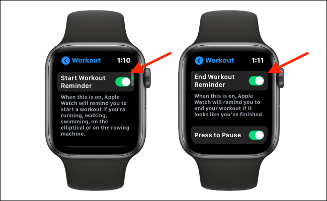 Disable Start and End Workout Reminders