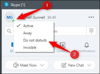 Do not disturb option in Skype