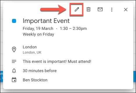 "Press the ""Edit"" button to edit a Google Calendar event."