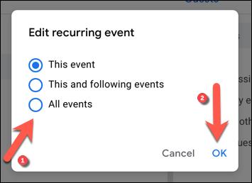"""Выберите один из вариантов редактирования отдельного или повторяющегося события, затем нажмите """"В ПОРЯДКЕ"""" сохранить."""