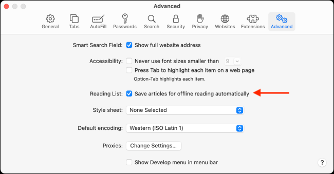 Enable offline mode for reading lists in Safari for Mac
