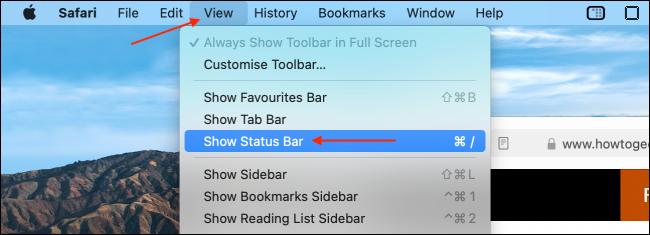 Bật thanh trạng thái trong Safari cho Mac