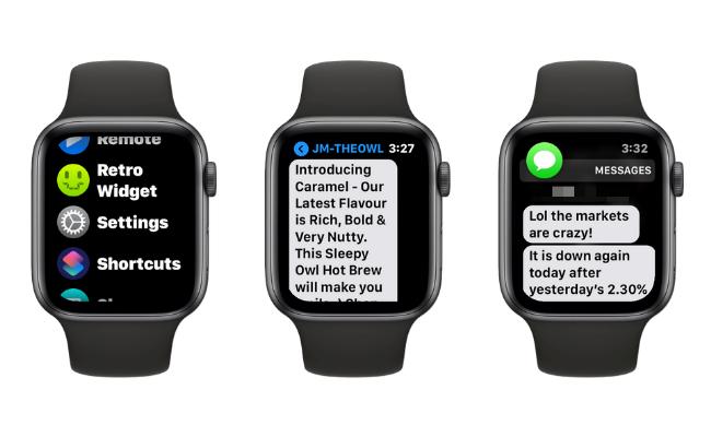 Примеры увеличения размера текста на Apple Watch