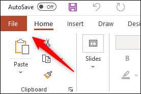 File tab in Microsoft PowerPoint