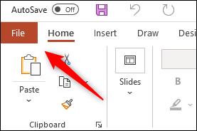 File tab in Microsoft PowerPoint