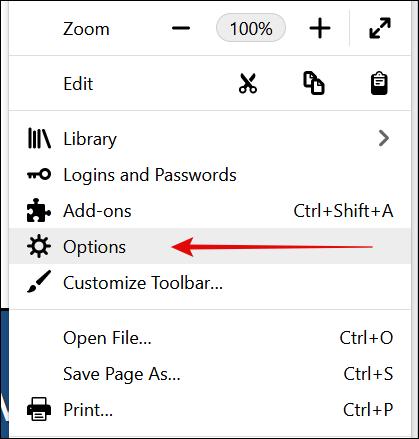Options in Firefox Menu