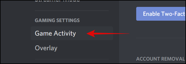 Game Activity under Game Settings Section