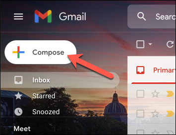 "In the Gmail web interface, press the ""Compose"" button to begin sending a new email."
