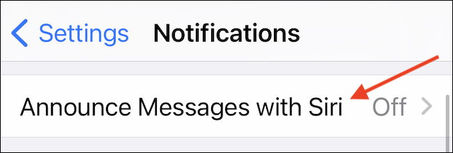 Go to Announce Messages with Siri Section