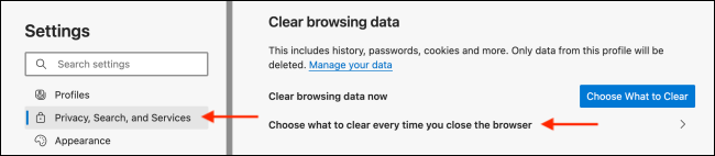 Go to Option to Clear Data When Closing Microsoft Edge Browser