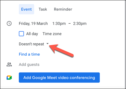 Select the repeat drop-down menu to change how often your event will take place.
