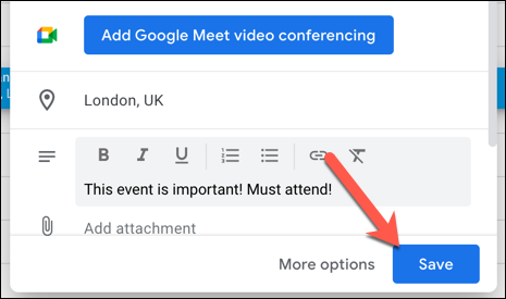 "To save your recurring event to your calendar, press the ""Save"" option."