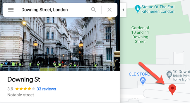 An example of a dropped pin in Google Maps, with the information panel on the left.