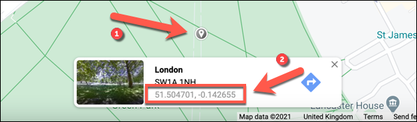 To drop a pin manually, press on any location on the map, then select the map coordinates in the small information box below.