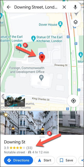 Searching for a location in Google Maps will generate a dropped pin in the same location. To view more information, tap the information panel at the bottom.
