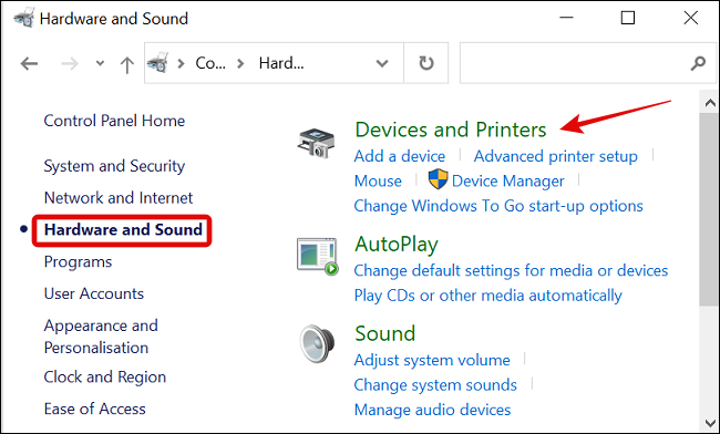 انقر فوق الأجهزة والصوت في قائمة لوحة التحكم واختر الأجهزة والطابعات