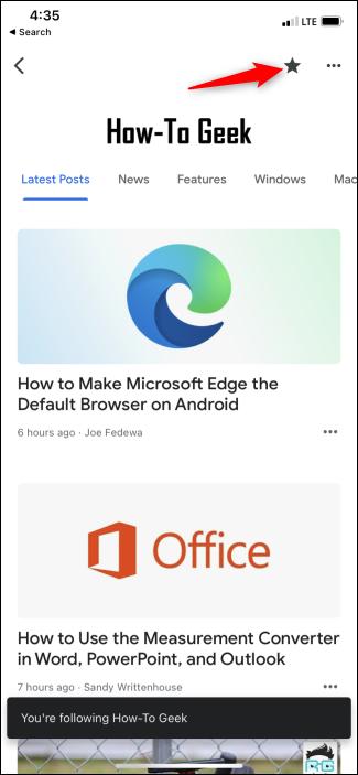 Seguendo How-To Geek nell'app Google News
