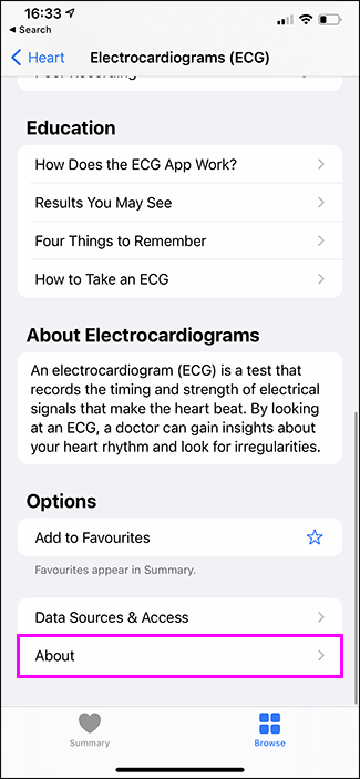 sobre destacado na seção de ECG