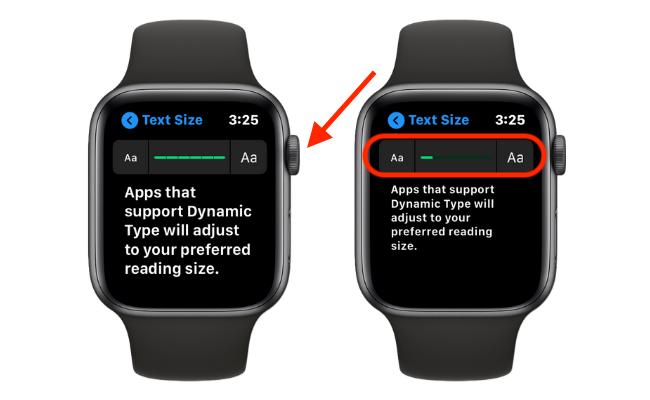 Увеличить размер текста на Apple Watch