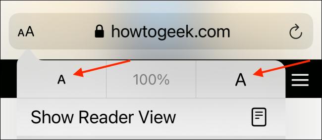 Увеличение или уменьшение размера текста в Safari