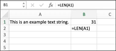 An example of an Excel formula using the LEN function, calculating the length of a text string.