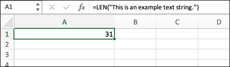 An example of the LEN function in Excel, showing the length of a text string placed in the formula directly.
