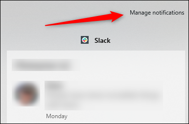 Manage notifications button in notifications menu