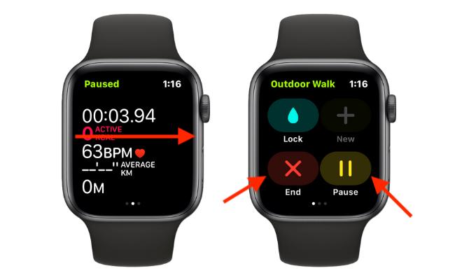 Завершение или приостановка тренировки вручную на Apple Watch