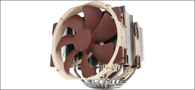 A CPU air cooler with two brown fans and two large silver heatsinks.