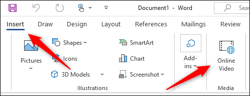 Online video option on the Insert tab of Word