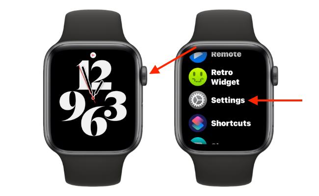 Откройте настройки на Apple Watch