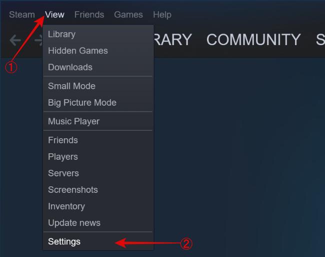 افتح الإعدادات من خيار العرض في Steam