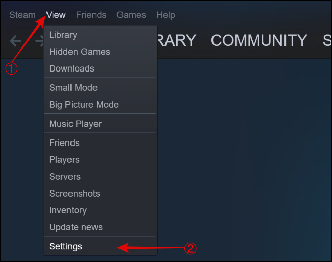 Open Settings from View option in Steam