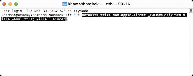 Paste the Finder Path command into Terminal